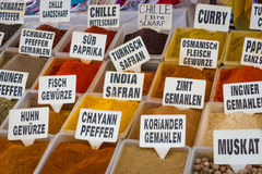 Selling spices. Stock Photo
