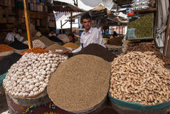 Selling spices in Yemen Royalty Free Stock Images