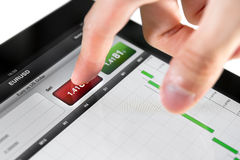Selling on Stock Market. Touching sell button on stock market EUR/USD pair on a touch screen device Stock Image