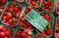 Selling strawberries Stock Images