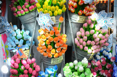 Selling sunny tulips souvenirs Stock Photo