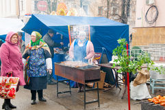 Selling of traditional Russian meal on Maslenitsa in Moscow, Russia. Stock Image