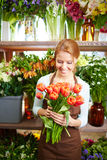 Selling tulips and other flowers Stock Photography