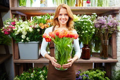 Selling tulips Stock Image