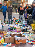 Selling used goods on King's Day flea market in Holland Royalty Free Stock Image