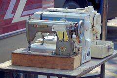 Selling Used Sewing Machines Stock Photo