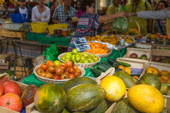 Selling vegetable on market place in Provence, France. Stock Photo