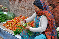 Selling Vegetables At Bhaktapur Royalty Free Stock Photography
