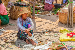 Selling vegetables at the local market Royalty Free Stock Photo