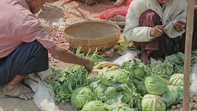Selling vegetables at the local market Royalty Free Stock Photography