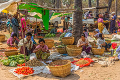 Selling vegetables at the local market Stock Photography