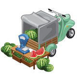 Selling watermelon harvest from scooter. Vector. Illustration scene . Selling vegetables stock illustration