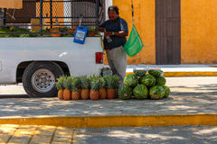 Selling Watermelon and Papaya on the streets of Yucatan Royalty Free Stock Image