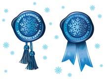 Sello azul con el copo de nieve libre illustration