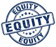 sello azul de la equidad ilustración del vector