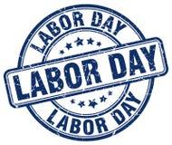 Sello azul del Día del Trabajo ilustración del vector