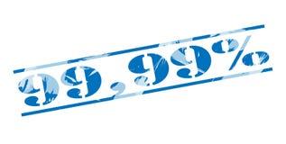 sello azul del 99,99 por ciento Fotografía de archivo