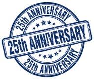 sello azul del 25to aniversario Foto de archivo libre de regalías