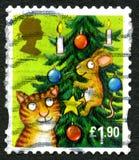 Sello BRITÁNICO de la Navidad del gato y del ratón Fotos de archivo libres de regalías