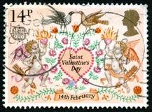 Sello BRITÁNICO del día de tarjetas del día de San Valentín del santo Imagen de archivo