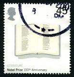 Sello BRITÁNICO del 100o aniversario del Premio Nobel imagen de archivo libre de regalías
