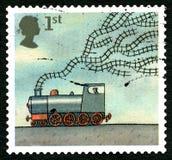 Sello BRITÁNICO del tren y de las vías Fotos de archivo libres de regalías