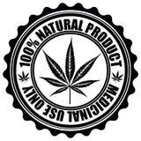 Sello con el emblema de la hoja de la marijuana Symbo de la silueta de la hoja del cáñamo ilustración del vector