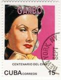 Sello con Greta Garbo Fotografía de archivo libre de regalías