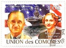 Sello con Harry Truman y su esposa Bess Foto de archivo