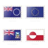 Sello con la imagen del cocinero Islands, unión europea, Falkland Islands, bandera de Groenlandia libre illustration