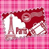 Sello con la visita turística de excursión en la torre Eiffel Imagen de archivo libre de regalías