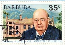 Sello con Winston Churchill Imágenes de archivo libres de regalías