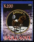 Sello de Apolo 11 de Malawi Fotografía de archivo libre de regalías