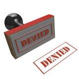 Sello de goma con el mensaje negado Imagen de archivo libre de regalías