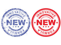 Sello de goma con fórmula innovadora revolucionaria de la inscripción nueva Ilustración del Vector