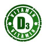 Sello de goma con la vitamina D3 stock de ilustración