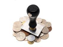 Sello de goma con las monedas asiáticas Imagen de archivo