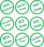 Sello de goma del alergénico fijado - verde Foto de archivo libre de regalías