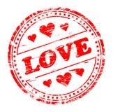 Sello de goma del amor y de los corazones Fotografía de archivo