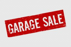 Sello de goma del sello de garaje del Grunge del cuadrado rojo de la venta ilustración del vector