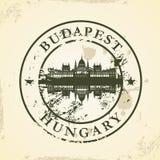 Sello de goma del Grunge con Budapest, Hungría