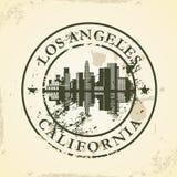 Sello de goma del Grunge con Los Ángeles, California