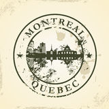 Sello de goma del Grunge con Montreal, Quebec stock de ilustración