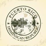 Sello de goma del Grunge con Puerto Rico, dominicano con referencia a ilustración del vector