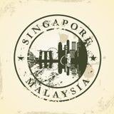 Sello de goma del Grunge con Singapur, Malasia ilustración del vector