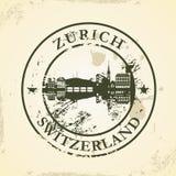 Sello de goma del Grunge con Zurich, Suiza stock de ilustración