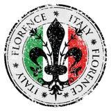 Sello de goma del grunge del destino del viaje con el símbolo de Florencia, Italia dentro, la flor de lis de Florencia Imagen de archivo libre de regalías