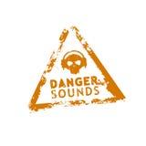 Sello de goma del sonido del peligro Fotos de archivo libres de regalías