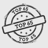 Sello de goma del top 65 aislado en el fondo blanco Fotografía de archivo