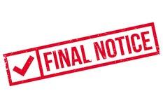 Sello de goma final del aviso Imágenes de archivo libres de regalías
